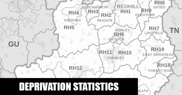 English Indices of Deprivation statistical comparisons for Lower-Super Output Areas in Horley East & Salfords, Reigate and Banstead, Surrey