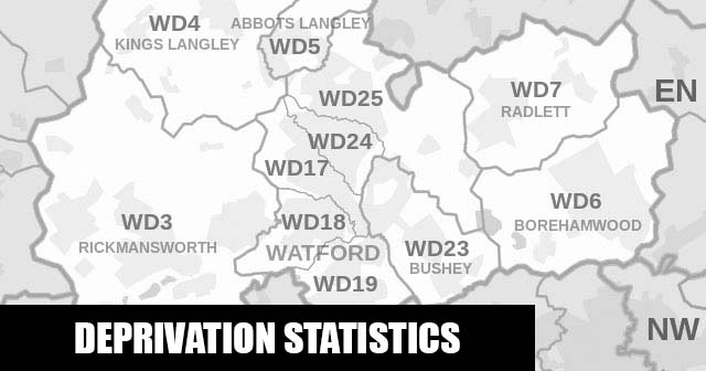 English Indices of Deprivation statistical comparisons for Lower-Super Output Areas in Woodside, Watford, Hertfordshire